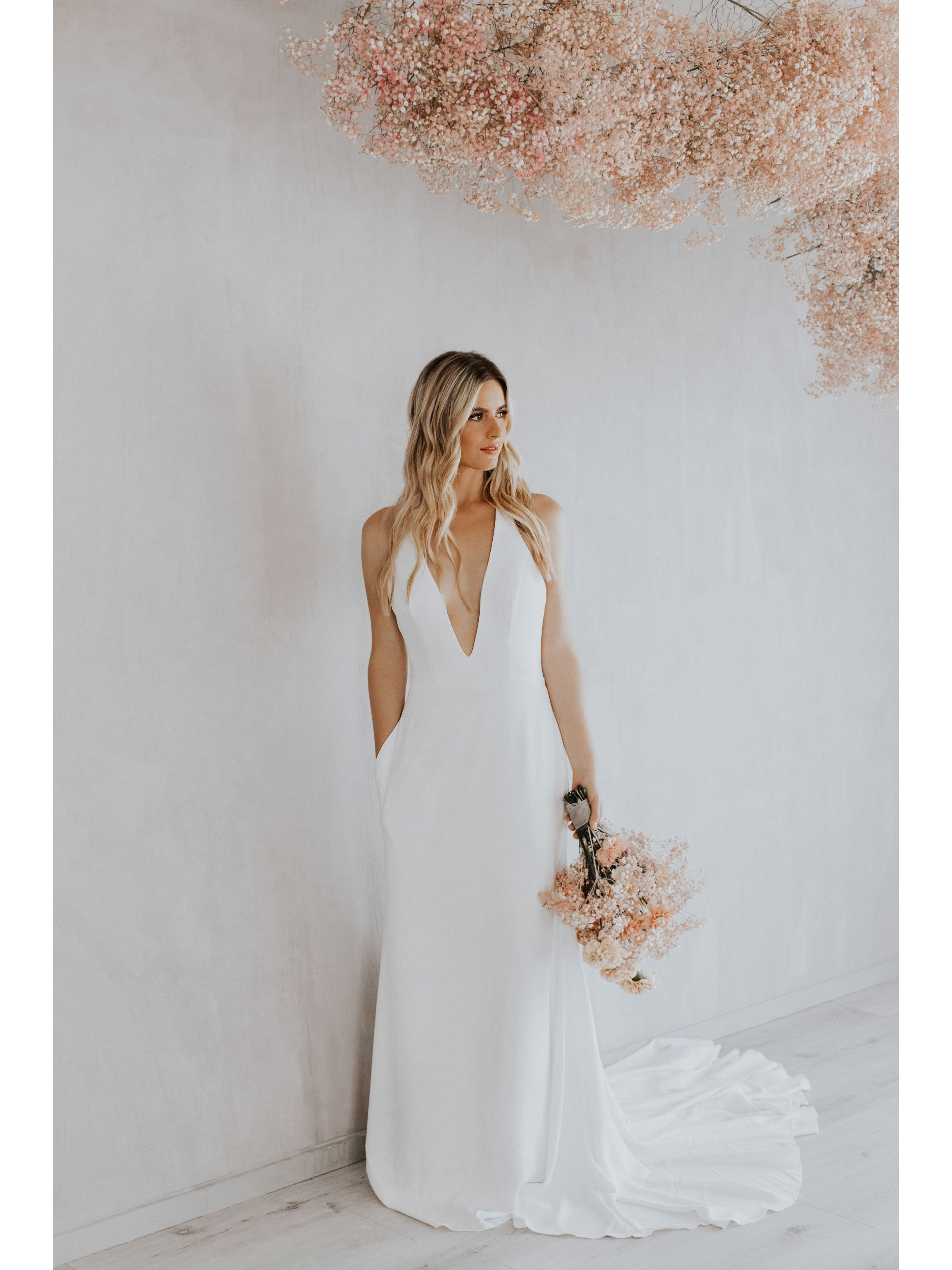 Bridal Gown-Romantic Wedding Gown-Attractive Wedding Gown.Lovely Wedding Gowns.Simple Classic Wedding Gowns,Soft Crepe Fabric,Side Pockets Wedding Gown,Bridal Gown, Wedding Gown, Ballroom Wedding Gown, Lace Wedding Gown, Simple Wedding Gown, Royal Wedding