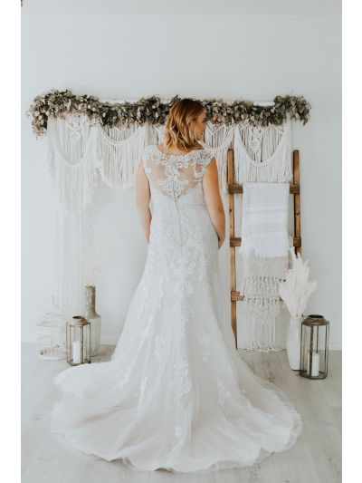 Bridal Gown-Stunning Wedding Gown,Gorgeous Wedding,Gown,Lovely Wedding Gown.Relaxed Bridal Gown,Sheer Straps Gown,Low V Neckline Weeding Gown,Bridal Gown, Wedding Gown, Ballroom Wedding Gown, Lace Wedding Gown, Simple Wedding Gown, Royal Wedding Gown, Tu