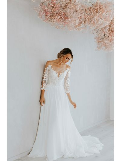 Bridal Gown-Romantic Wedding Gown-Attractive Wedding Gown.Flowing Panels Wedding Gown,Chiffon Wedding Gown,Illusion Wedding Gown,Bridal Gown, Wedding Gown, Ballroom Wedding Gown, Lace Wedding Gown, Simple Wedding Gown, Royal Wedding Gown, Tulle Wedding Go