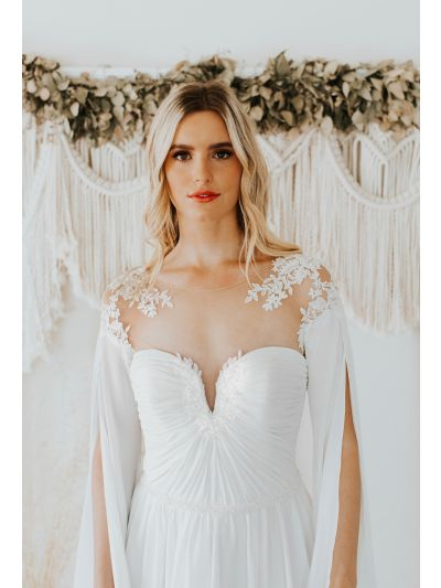 Bridal Gown-Romantic Weeding Gown-Modern Wedding Gown-Radleigh Wedding Gown.Soft Flowing ,Chiffon Dress,Long Sleeves,Illusion Neckline Finished,Crystal Buttons,Bridal Gown, Wedding Gown, Ballroom Wedding Gown, Lace Wedding Gown, Simple Wedding GoGown, Roy